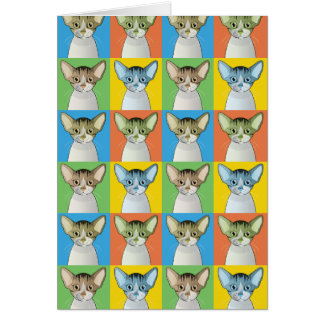 Carte Bruit-Art de bande dessinée de chat de Devon Rex