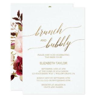 Carte Brunch floral de la calligraphie | d'or et