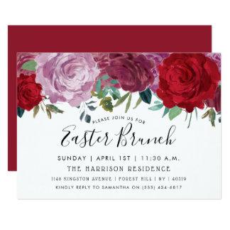 Carte Brunch floral romantique de Pâques de fleurs
