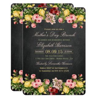 Carte Brunch floral vintage du jour de mère de tableau