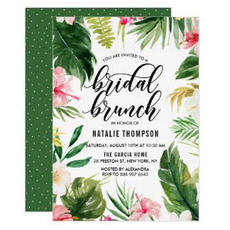 Carte Brunch nuptiale de cadre floral tropical
