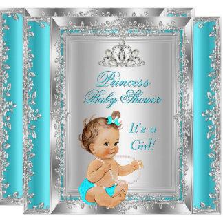 Carte Brune argentée turquoise de partie de princesse