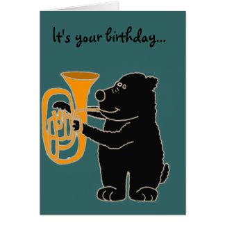 Carte BX- ours noir jouant le tuba