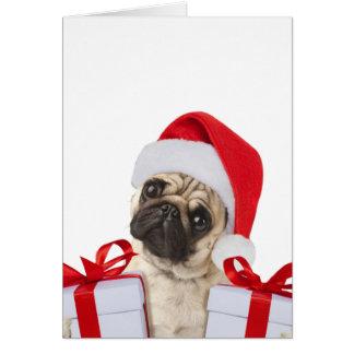 Carte Cadeaux de carlin - chien Claus - carlins drôles -