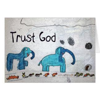 Carte Cadeaux et salutations de Dieu de confiance