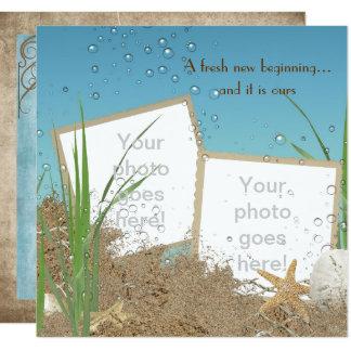 Carte cadre de photo de mariage d'océan en sable
