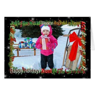 Carte Cadre de photo de mot de salutation de Noël sur le
