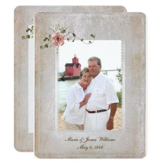 Carte cadre de photo de texture et bouquet rose