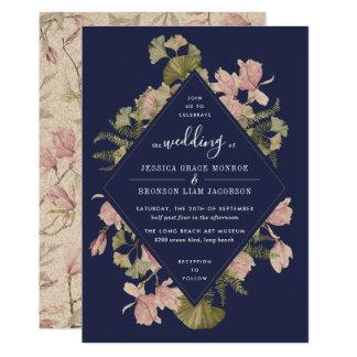 Carte Cadre floral de Ginkgo déprimé et de magnolia