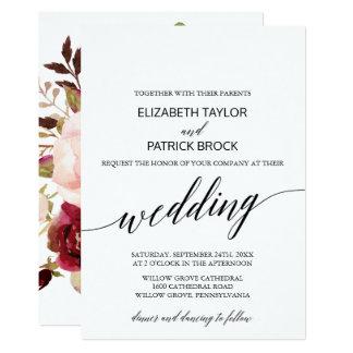 Carte Calligraphie élégante avec le mariage floral de