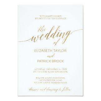 Carte Calligraphie élégante d'or le mariage de