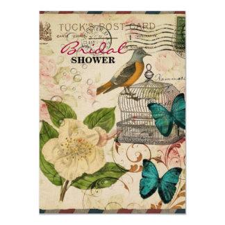 Carte camélia français botanique chic minable d'oiseau