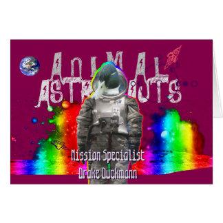 Carte Canard animal d'astronaute