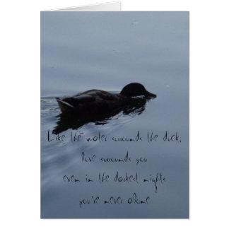 Carte Canard de natation dans la citation inspirée de