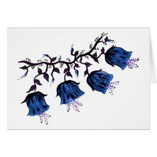 Carte Cantorbéry Bells bleu sur des fleurs de vigne