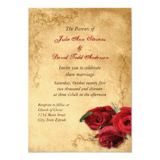 Carte Caramel vintage Brown et mariage rose
