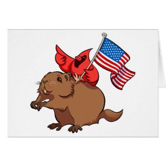 Carte Cardinal rouge montant un Groundhog avec le