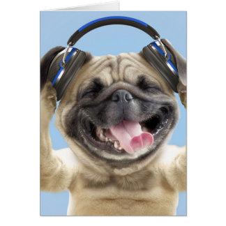 Carte Carlin avec des écouteurs, carlin, animal familier