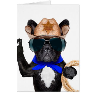 Carte carlin de cowboy - cowboy de chien