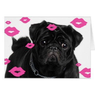 Carte Carlins roses et baisers