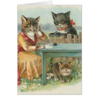 """Carte """"Carte de voeux vintage de la famille de chat"""""""