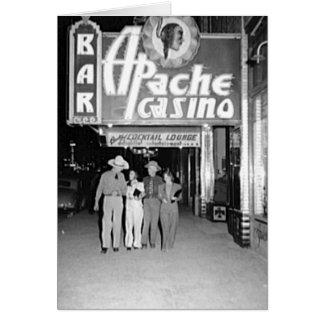 Carte Casino d'Apache et photo vintage de Las Vegas de