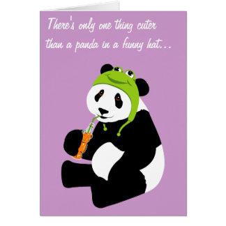Carte Casquette de grenouille de panda (anniversaire)