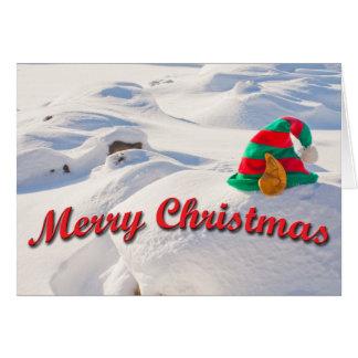 Carte Casquette d'Elf de Père Noël sur une photographie