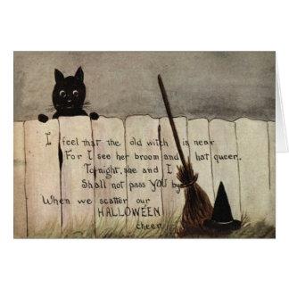 Carte Casquette du balai de sorcière de barrière de chat