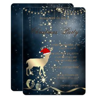 Carte Casquette élégant de Père Noël de cerfs communs de