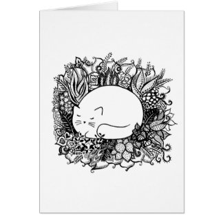 Carte Cat in Flowers