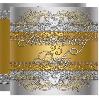 Carte Célébration argentée d'or de 25ème anniversaire