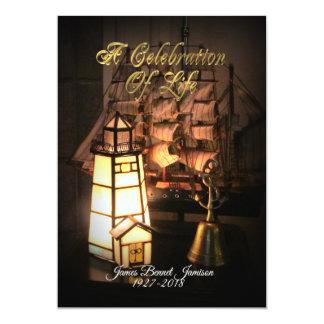 Carte Célébration de bateau et de phare d'invitation de