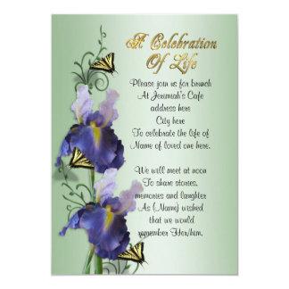 Carte Célébration d'iris et de papillon d'invitation de