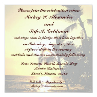Carte Célébration romantique de mariage de plage