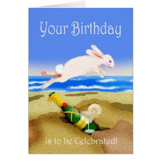 Carte Célébrations d'anniversaire, champagne et rabb
