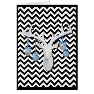 Carte Cerfs communs blancs avec les ornements bleus des