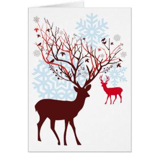 Carte Cerfs communs de Noël avec des andouillers de