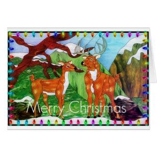 Carte Cerfs communs de Noël en verre souillé