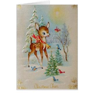 Carte Cerfs communs vintages de Noël de bébé