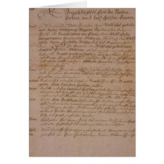 Carte Certificat de mariage de Wolfgang, de Mozart et de