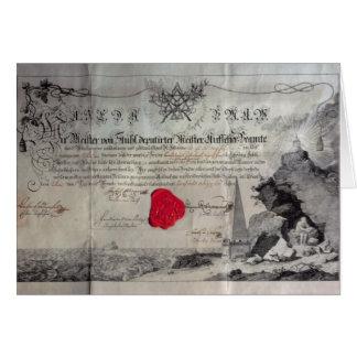 Carte Certificat maçonnique, 1785