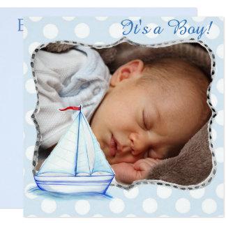 Carte C'est un garçon, naissance Announcment de bateau