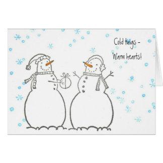 Carte chaleureuse de bonhommes de neige