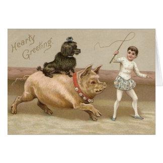 Carte chaleureuse victorienne de cirque de porc et