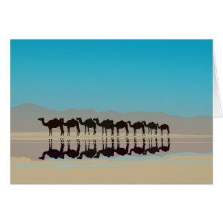 Carte Chameaux marchant dans le désert