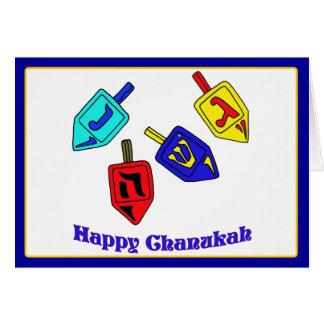 Carte Chanukah heureux Dreidels