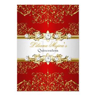 Carte Charme vintage rouge Quinceanera d'or élégant