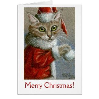 Carte Chat dans le casquette de Père Noël, Joyeux Noël !