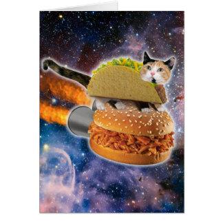 Carte chat de taco et hamburger de fusée dans l'univers